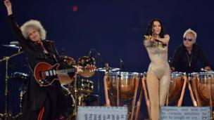 Jessie J and Brian May performing at the London 2012 Olympics closing ceremony