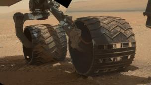 Curiosity's wheels on Mars.