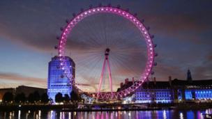 London Eye lit up pink