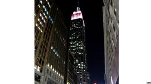 Empire State building turned pink