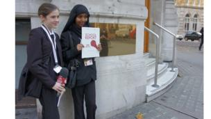 School Reporters from The Heathland School outside the Commonwealth Club in London