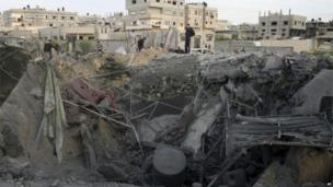 Aftermath of a rocket strike in Rafah, Gaza Strip, 16 November 2012