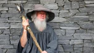 Man dressed up as the wizard Gandalf