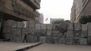 The wall near Simon Bolivar Square, also adjacent to Tahrir Square, and leading to the US Embassy.