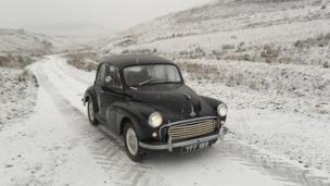 Morris Minor in the snow