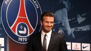 David Beckham and the Paris St-Germain logo