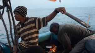 Commercial fishermen leave Mombasa, Kenya, for a fishing expedition