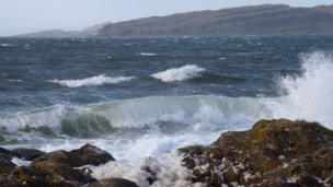 Waves crashing on the Ayrshire coast