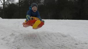 John Ritchie sledging in Camperdown Park