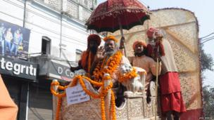 Men at Kumbh Mela. Photo: Atul Nishad