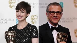 Anne Hathaway and Christoph Waltz