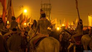 Sadhus on horses. Photo: Piyush Goswami