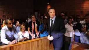Oscar Pistorius in court in Pretoria, South Africa, 22 February 2013