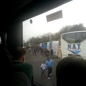 Coach loads of Swansea fans had an early start for their journey to Wembley