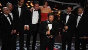 Ben Affleck, George Clooney, Grant Heslov and other Argo production members.
