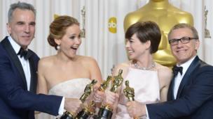 Daniel Day Lewis, Jennifer Lawrence, Anne Hathaway and Christoph Waltz