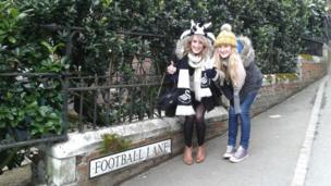 Nia and Lowri Thomas on Football Lane, Wembley