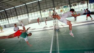 Students practise Sepak Takraw