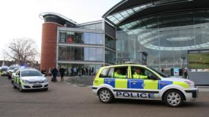 Police chase outside The Forum, Norwich