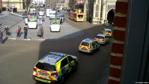 Police chase outside The Forum , Norwich