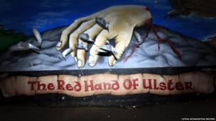 A mural in the Shankill Road area of west Belfast depicting a Gaelic myth about the claiming of Ulster