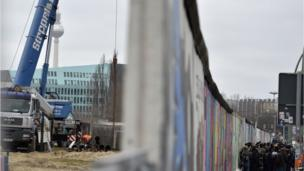 A view of the building site on one side of the Berlin Wall