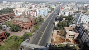 Farmgate, one of Dhaka's busiest areas, during Islamist strike