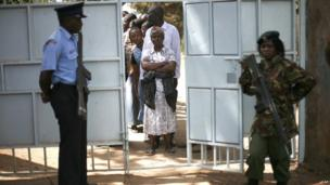 Voters at a polling station in the Kibera slum, Nairobi. 4 March 2013
