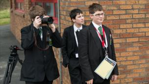 Students taking pictures