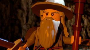 A bearded Lego character in a video game