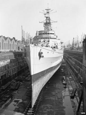 HMS Belfast in dry dock