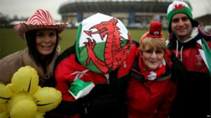 Wales fans outside Murrayfield before the RBS Six Nations match