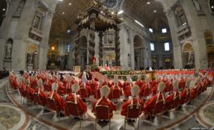 Cardinals attend a Mass at St Peter's Basilica in the Vatican