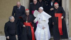 Pope Francis with Cardinal Santos Abril of Spain, third left, and Cardinal Agostino Vallin, right.