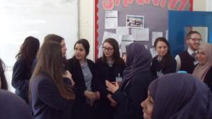 King David pupils chat to the Manchester Islamic School for Girls students