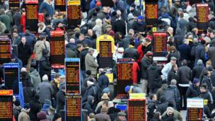Bookmakers, during Champion Day of the 2013 Cheltenham Festival at Cheltenham Racecourse, Gloucestershire