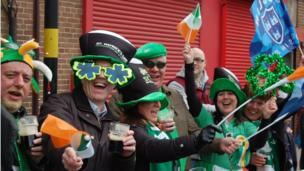 Crowds at St Patricks Day parade