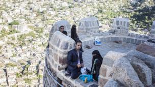 Young Yemenis at Taiz's Cairo Castle