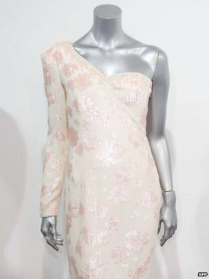 Catherine Walker pink sequined ivory crepe gown worn by Princess Diana during a visit to Brazil in 1991.