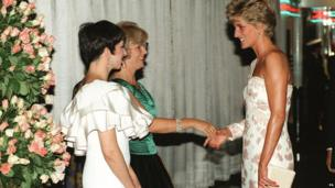 Catherine Walker pink sequined ivory crepe gown worn by Princess Diana, 1991.