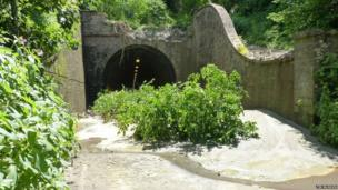 Earth blocking Beaminster Tunnel following the landslip in July 2012.