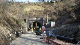 Work at the south side of Beaminster Tunnel, showing the November 2012 landslip.