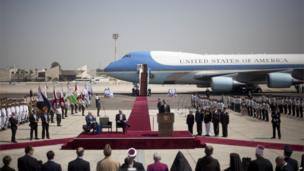 US President Barack Obama speaks at Ben Gurion airport in Tel Aviv, 20 March 2013