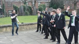 Shakespearean actor Dan from The Schools Shakespeare Festival met the BBC School Reporters from Catmose College