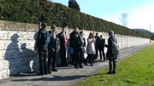 Students from Big Wood School gather outside to highlight the importance of road safety