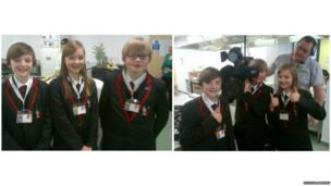 Left: Students of Samworth Church Academy stand together for the camera. Right: Students pose with their School Report camera equipment