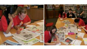 Students at Clifton A Community Arts School study newspapers for News Day 2013