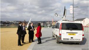 School Reporters outside BBC Radio Foyle