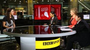 Katarina Johnson-Thompson on set with the School Report team
