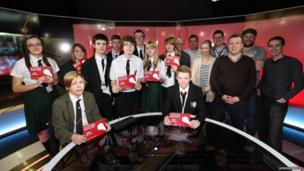 Students from Cowley International College with BBC Sport staff
